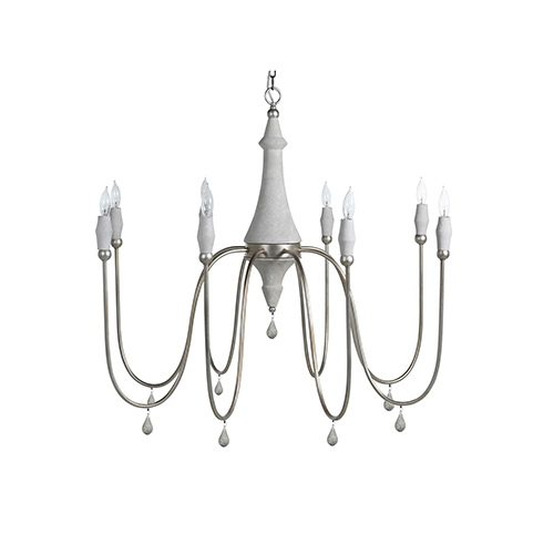 Vintage Silver And Distressed Gray Eight-Light Chandelier