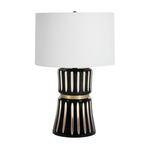 Sweeney White and Antique Brass Two-Light Table Lamp