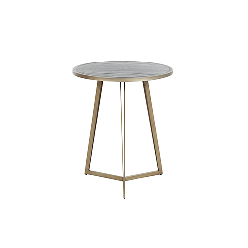 Caswell Dark Gray Cerused Oak And Light Bronze Gold End Table