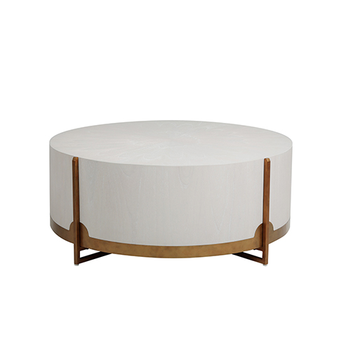 Clifton White Cerused Oak And Brass Coffee Table