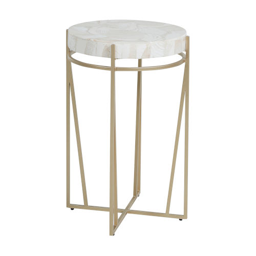Krissa Champagne and White Side Table