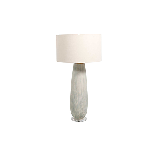 Tristan Antique Brass Blue And White Dotted Ceramic One-Light Table Lamp