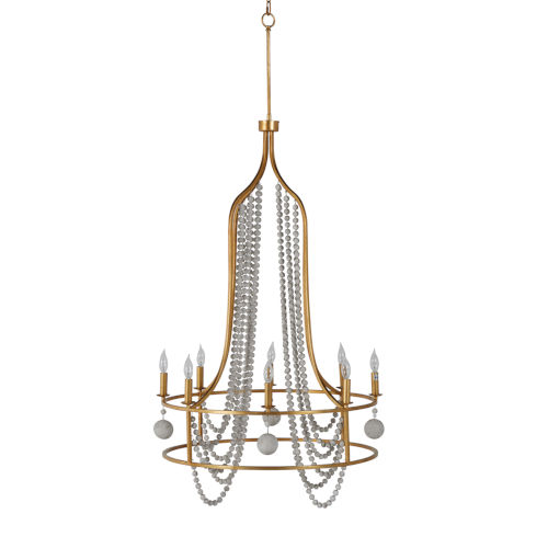 Neville Vintage Gold and Distressed Ivory Eight-Light Chandelier