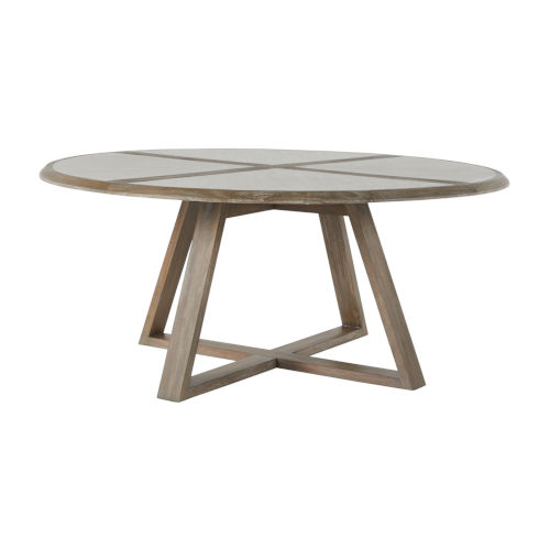 Edmond Cerused White and Natural Dining Table