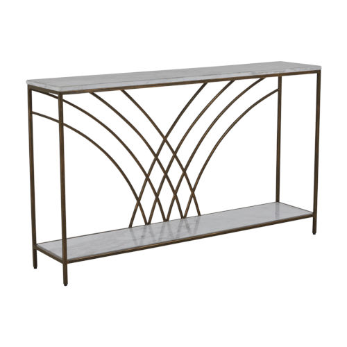 Felding Jazzy White and Brushed Copper Console Table