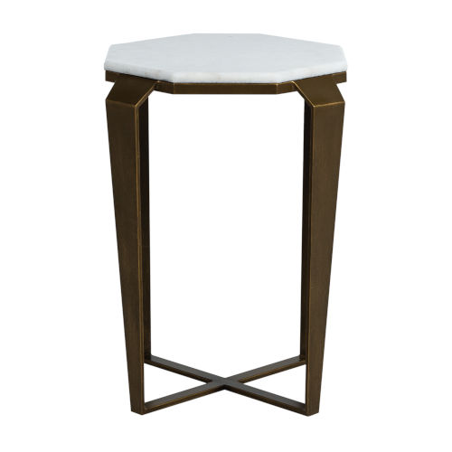 Marigold White and Brushed Copper 23-Inch Side Table