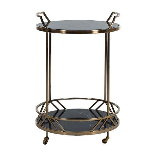 Randall Black and Brushed Gold 27-Inch Bar Cart