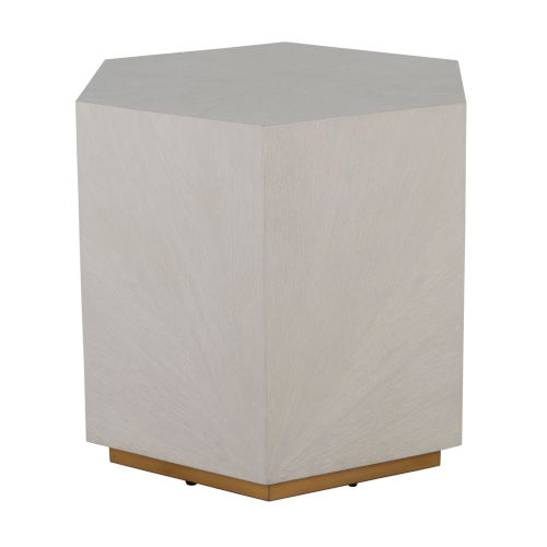 Winslet Cerused White and Stain Gold 26-Inch Side Table