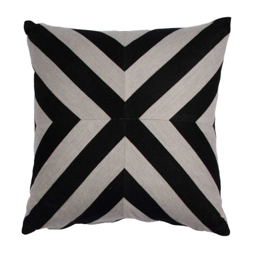 Halo Black and Dove 20 x 20 Inch X-Stripe Pillow with Knife Edge