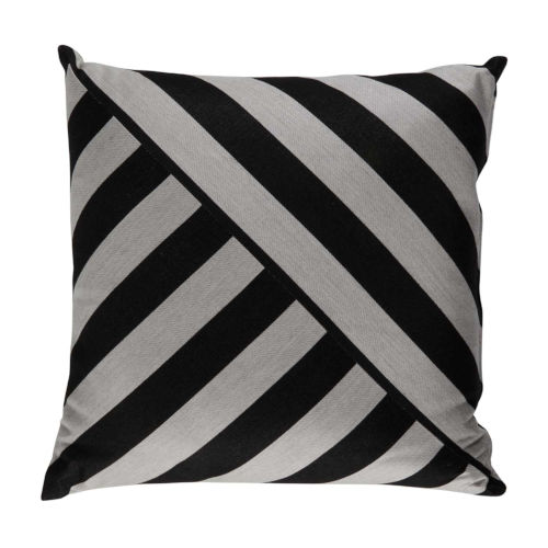 Halo Black and Dove 20 x 20 Inch T-Stripe Pillow with Knife Edge