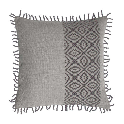 Tribal Stripe Pewter 20 x 20 Inch Pillow with Rope Loop Trim