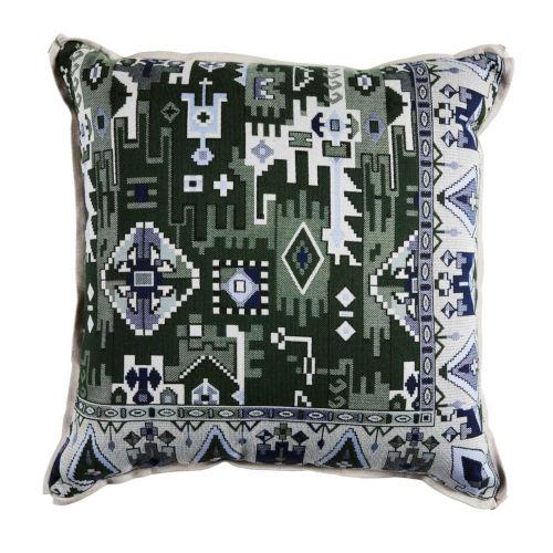 Oushak Mallard and Dove 20 x 20 Inch Pillow with Linen Flat Welt