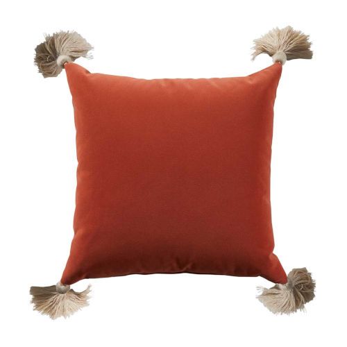 Terra Cotta Velvet and Almond 20 x 20 Inch Pillow with Tassel