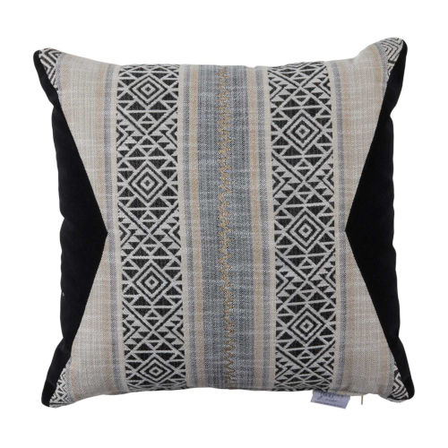 Aztec Pewter and Midnight Velvet 20 x 20 Inch Pillow with Knife Edge