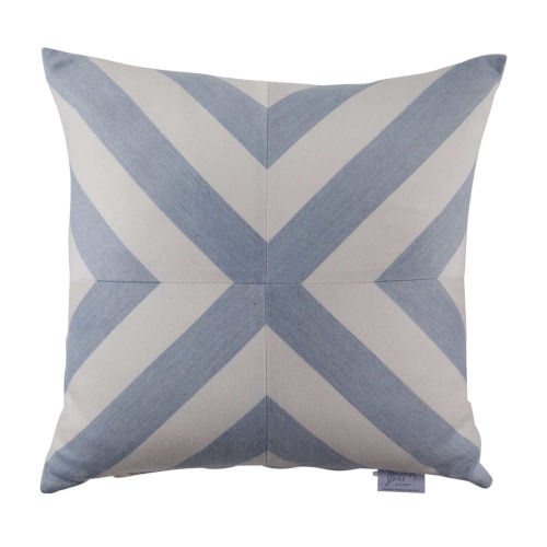Halo Chambray 20 x 20 Inch X-Stripe Pillow with Knife Edge