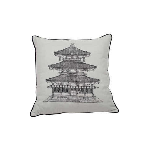 Pagoda Dynasty 22-Inch Midnight and Pewter Throw Pillow