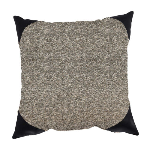 Boucle Shimmer Pepper and Black 22 x 22 Inch Pillow with Corner Cap