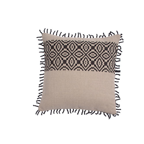 Tribal Stripe 22-Inch Almond and Midnight Throw Pillow