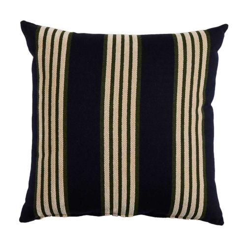 Bradford Stripe Navy and Mallard 22 x 22 Inch Pillow with Knife Edge