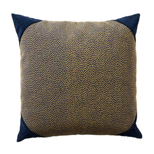 Navy 22 x 22 Inch Pillow with Velvet Corner Cap