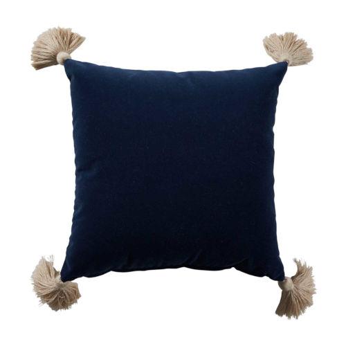 Navy Velvet and Almond 22 x 22 Inch Pillow With Tassel