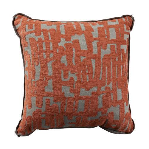 Abstract Terra Cotta 22 x 22 Inch Pillow with Linen Flat Welt