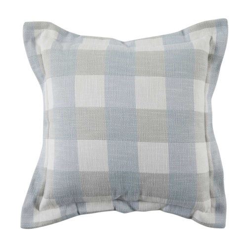 Plaid Chambray 22 x 22 Inch Pillow with Pinstripe Double Flange