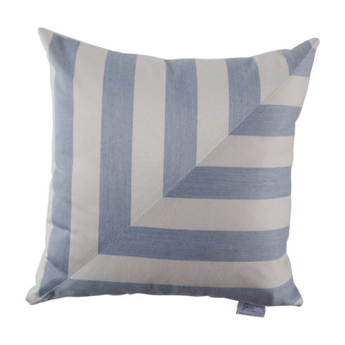 Halo Chambray 22 x 22 Inch T-Stripe Pillow with Knife Edge