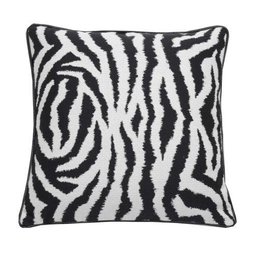 Zebra Midnight 24 x 24 Inch Pillow with Welt