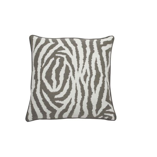Zebra 24-Inch Pewter and White Throw Pillow