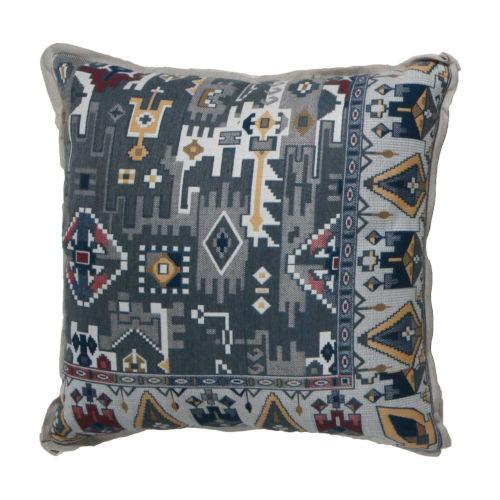 Oushak Indigo and Mustard 24 x 24 Inch Pillow with Linen Flat Welt