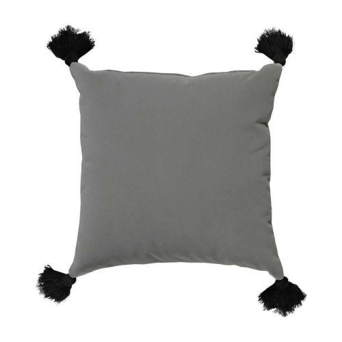 Pewter Velvet and Black 24 x 24 Inch Pillow with Tassel