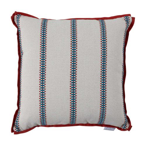 Gingham Stripe Cajun 24 x 24 Inch Pillow with Flat Welt