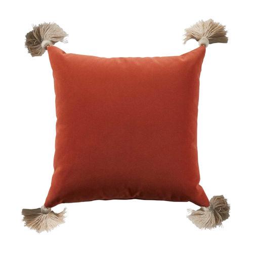 Terra Cotta Velvet and Almond 24 x 24 Inch Pillow with Tassel