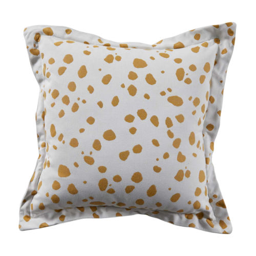 Spotty Mustard 24 x 24 Inch Pillow with Linen Single Flange