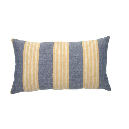 Bradford Stripe 24-Inch Mustard and Indigo Rectangle Throw Pillow