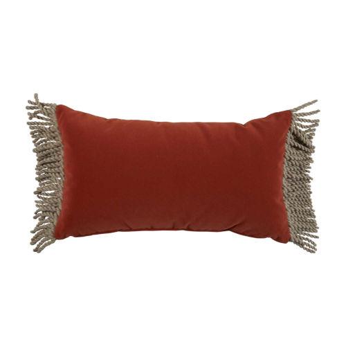 Terra Cotta Velvet and Almond 14 x 24 Inch Pillow with Bullion