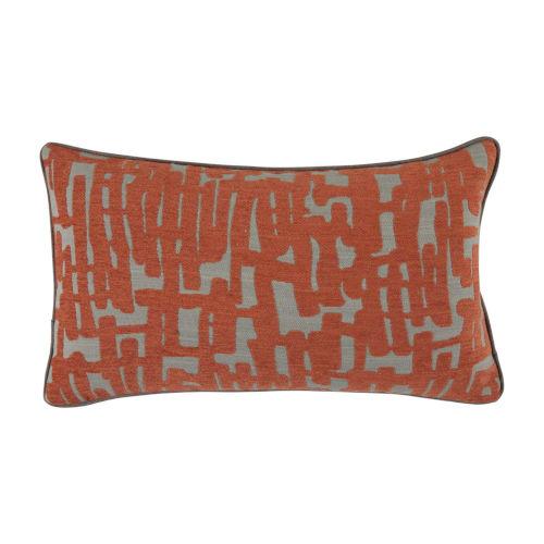 Abstract Terra Cotta 14 x 24 Inch Pillow with Linen Flat Welt