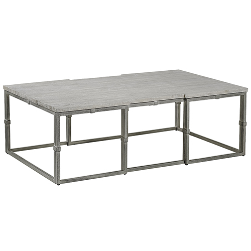 Gabby Home Alden Whitewashed Wood And Brushed Silver Coffee Table