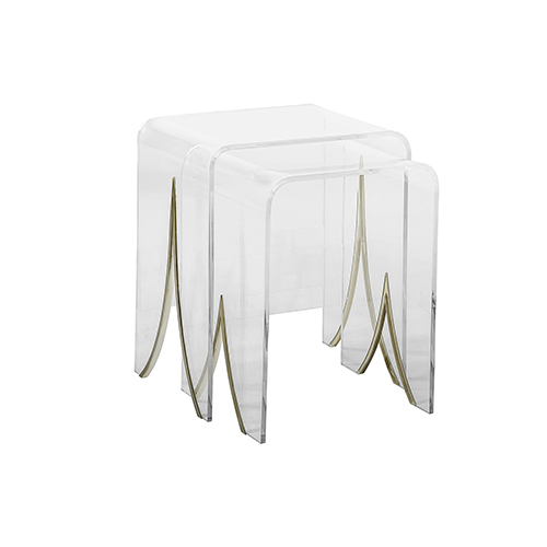 Magnolia Antique Brass Metal and Clear Acrylic Nesting Tables