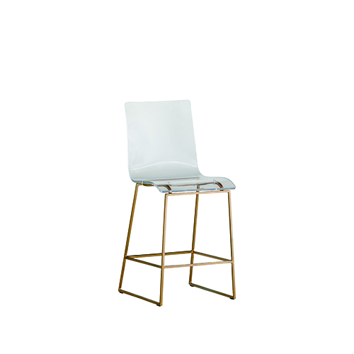 King Antique Gold and Clear Acrylic Counter Stool