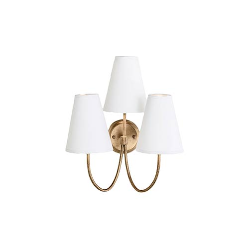 Jamie Antique Gold Leaf Three-Light Wall Sconce