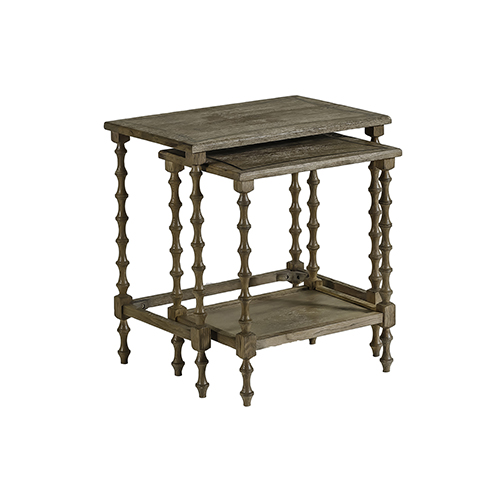 Gabby Home Lionel Natural Oak and Antique Brass Metal Nesting Tables