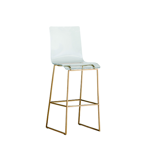 King Antique Gold and Clear Acrylic Bar Stool