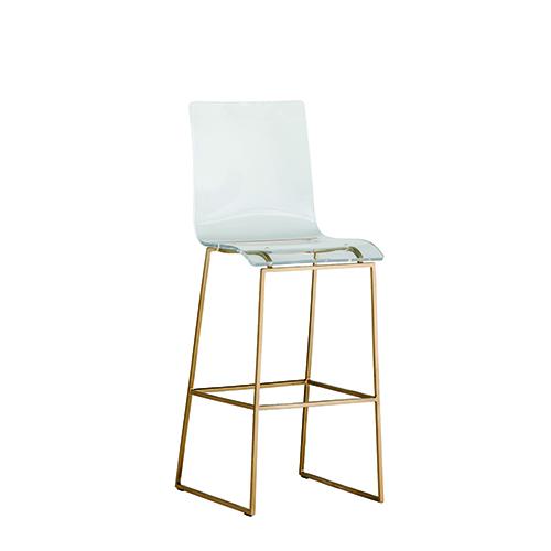 Pleasant King Antique Gold And Clear Acrylic Bar Stool Inzonedesignstudio Interior Chair Design Inzonedesignstudiocom
