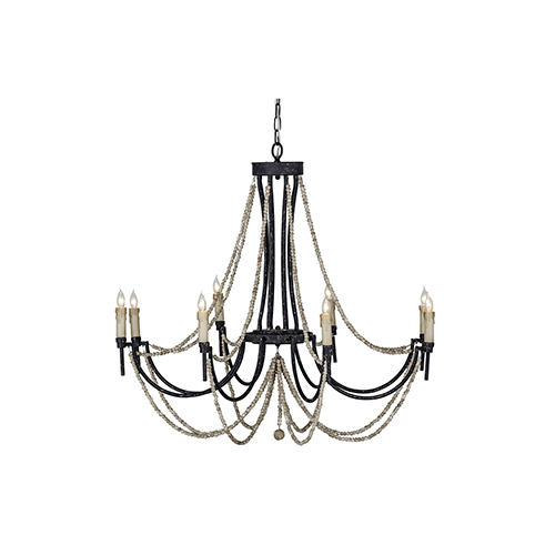 Percy Rusty Black and Distressed Ivory Eight-Light Chandelier