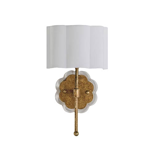 Gabby Home Shirley Ashwell Gold and Acrylic with White Linen Shade One-Light Wall Sconce