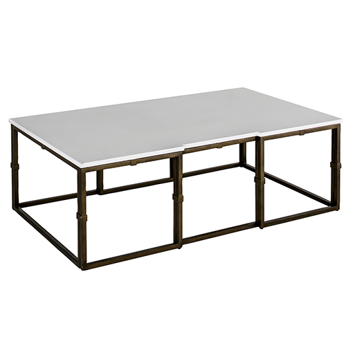 Gabby Home Stevens White Seagrass And Antique Brass Coffee Table