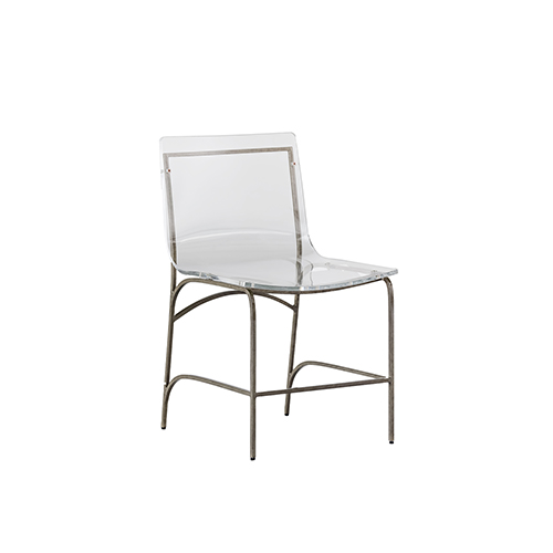 Penelope Antique Silver and Clear Acrylic Dining Chair