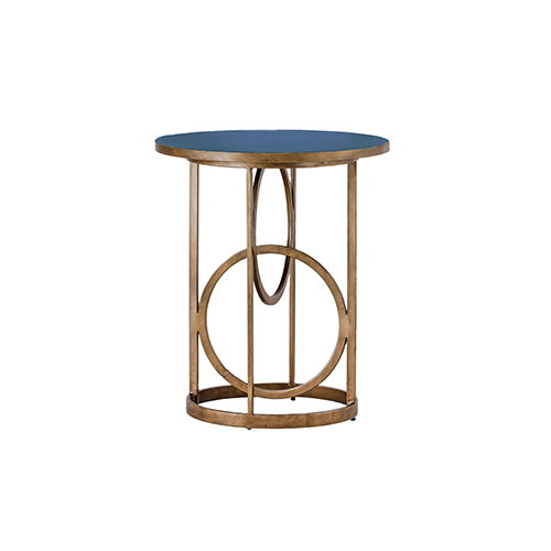 Jackie Navy Blue Seagrass and Antique Gold Hammered Metal Table
